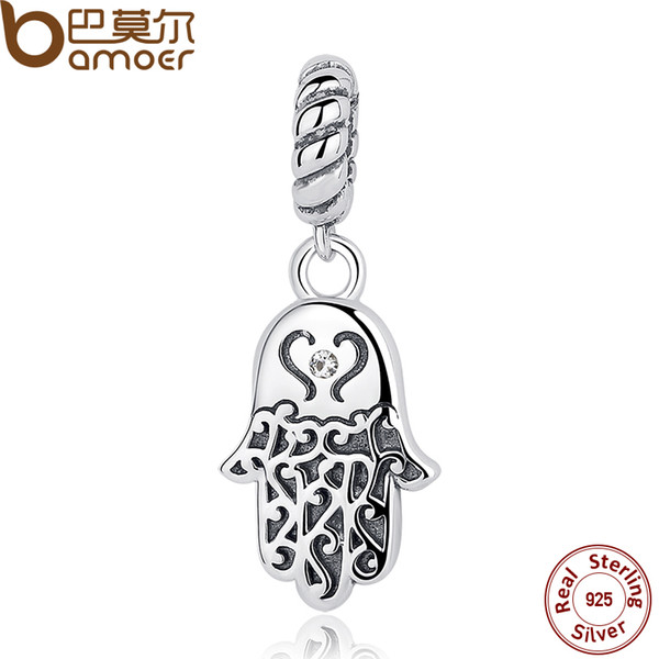 Pandora 925 Sterling Silver Lucky Hamsa Hand Pendants Charm fit Bracelet & Necklace for Women 2017 New Collection SCC031