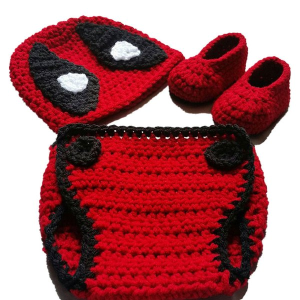 Super fresco traje recién nacido de Deadpool, ganchillo hecho a mano bebé niño niña Anime sombrero, botines y conjunto de cubierta de pañal, niño de Halloween Fotografía Prop