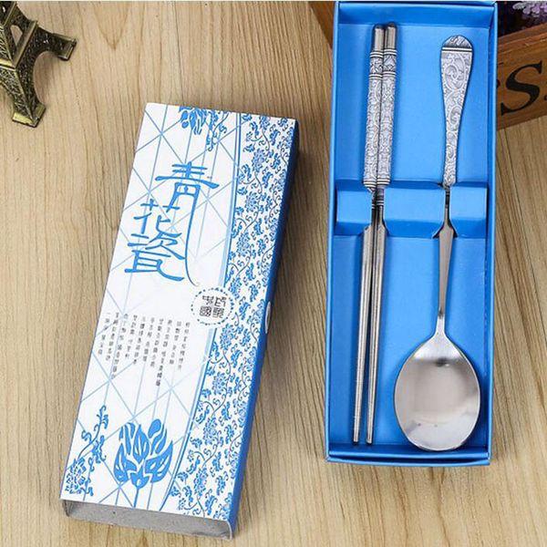 Geschirr Set Chinesischen Stil Edelstahl Geschirr Anzug Geschenkbox Für Hochzeit Home Restaurant Freies Verschiffen ZA3803