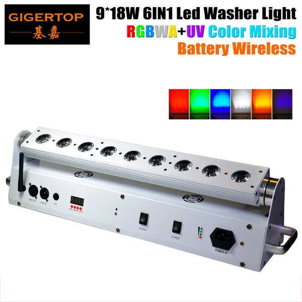 TIPTOP 9*18W 6 IN 1 RGBWA UV Color Mixing Battery Wireless Led Washer Light Angle Adjustable Remote Stage Washer DMX512 6/10CH China Light