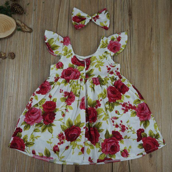 Vestido de encaje de mariposa flores mariposa impresión algodón falda de la muchacha niños lolita estilo playa vestido lindo bebé verano halter paño