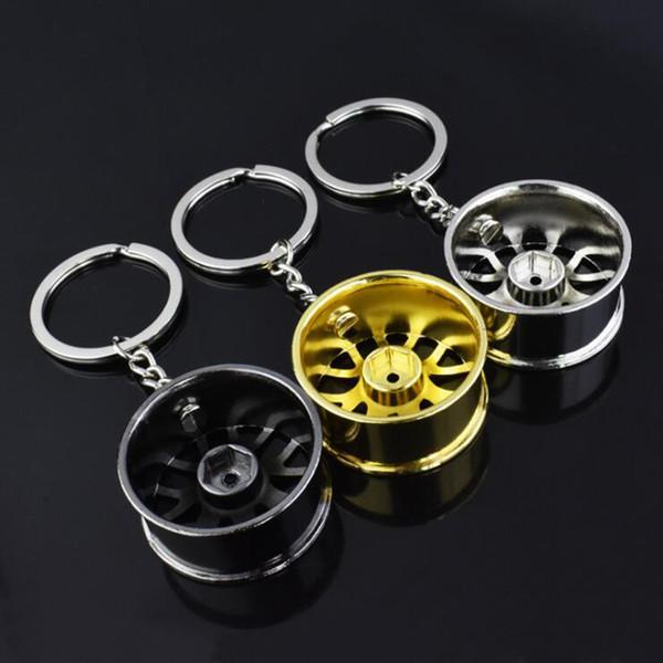 Creative Design Zinc Alloy Wheel Hub Keychains Metal Hub Model Keyrings Keyfob Men Gifts Key Chain Car Keychain Bag Decoration