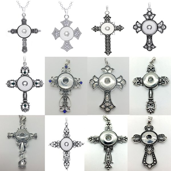 Wholesale 10Pcs/Lot Mix Style Cross Snap Charm Pendant Necklace Interchangeable 18mm Ginger Snap Chunk Charm jewelry With alloy beads Chain
