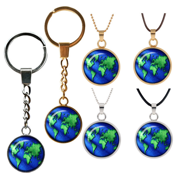 globe map of the world Retro necklace pendant jewelry world travel Curved glass Double face key buckle pendants