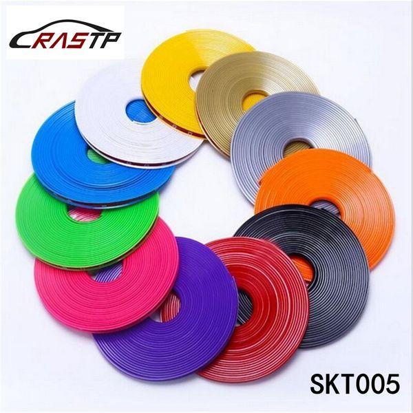 RASTP - alta calidad de 8m / rueda rollo Borde del coche Hub Etiqueta protector universal para coche Cubiertas de coches Decoración Styling neumáticos etiqueta LS-SKT005