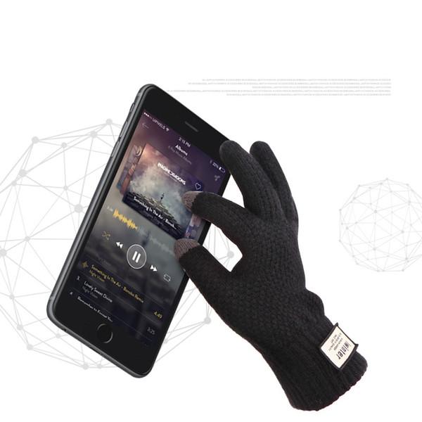 Großhandels- Männer strickte Handschuhe Touch Screen Qualitäts-Mann verdicken warme Handschuhe Winter-Herbst-Mann-Handschuh-Mann-Winter-Geschäfts-gestrickter Handschuh