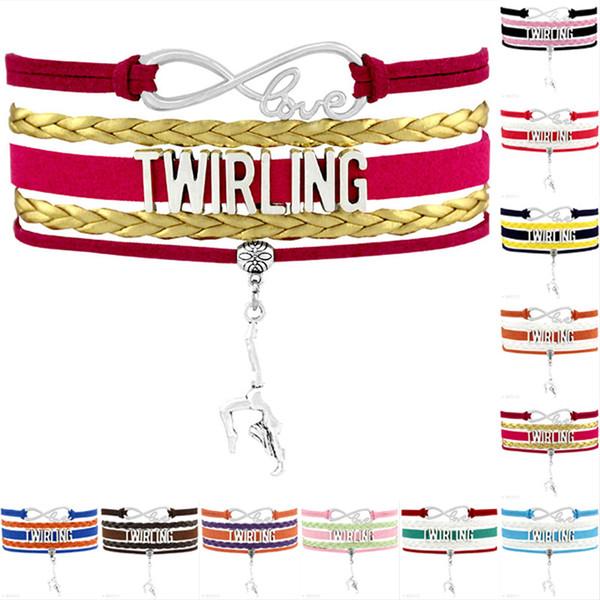 Infinity Love Twirling Dancer Charm Bracelets For Women Men Black Colorful Wax Suede Leather Wrap Bracelet Jewelry