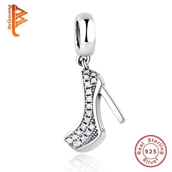 BELAWANG 2017 Yeni Moda 925 Ayar Gümüş Köpüklü Ayakkabı Stiletto Kolye Charm Fit Temizle Kübik Zirkonya ile Pandora Bilezik Kolye