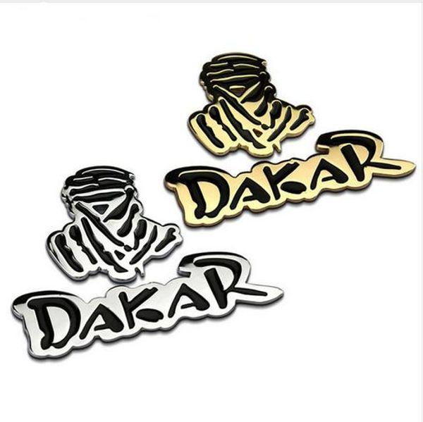 Großhandel Auto Auto 3d Emblem Chrom Aufkleber Aufkleber Abzeichen Dakar Logo 2 Farben 100 Metall Neue Sport Racing Drift Motorsport Street Racing