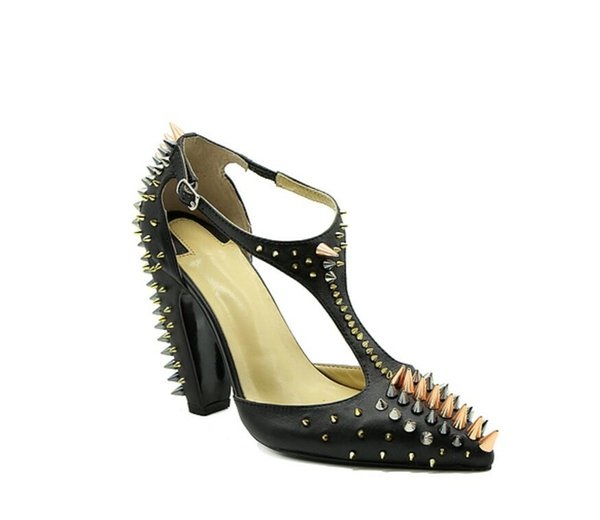 2017 new women point toe spike heel pumps matt leather rivets stud pumps party shoes sexy dress shoes ladies ankle strap high heels
