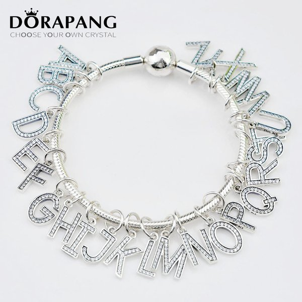 DORAPANG Silver Letter Beads Fit Charm Bracelet 925 sterling silver Pendant Original Authentic Alphabet DIY Woman Fashion Jewelry 2113