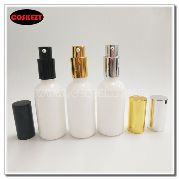 Venta al por mayor- botella de loción blanca redonda de 50 ml al por mayor con bomba, empaque de cosméticos de 50 g, botella de vidrio de ópalo 50ml para crema líquida