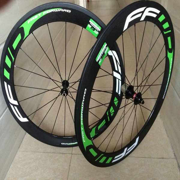 FFWD F6R white blue decal 50mm bicycle carbon wheels V brake clincher road bike wheels set bearing hubs basalt surface free shipping