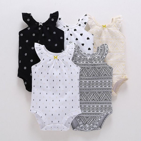 cheap kids rompers wholesale todder summer sleeveless bodysuit girls butterfly sleeves cotton coverall onesie sweet polka dot jumpsuits new