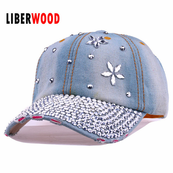 Wholesale- Lady fashion Denim crystal flower Jean denim Distressed Baseball Cap Hat shining bling Hat Curved Ball Cap women summer hats