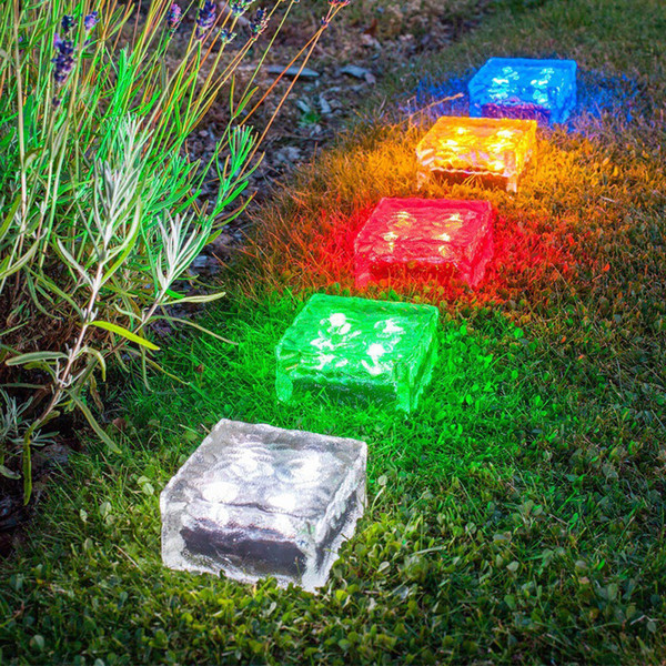 4 leds Led solar lâmpada de gelo em forma de cubo de luz em forma de jardim solar luz do jardim multi cores sem fio undergroud lâmpada do gramado branco azul