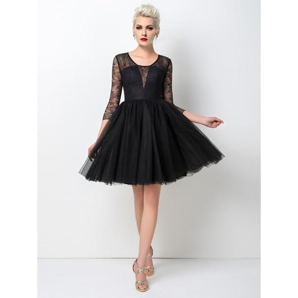 2017 Best Sale Sexy Black Short Prom Dress A Line Jewel 3/4 Long ...