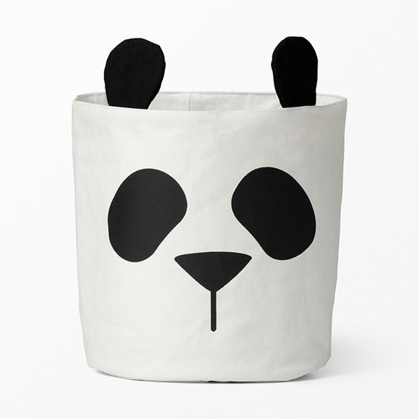New storage baskets for kids room canvas fabric toys storage buckets bins children laundry organizer clothes panda pattern nursery decor
