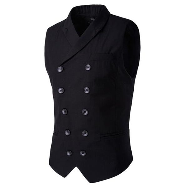 Wholesale- Hot Sale Men's Clothing British Style Slim Cotton Double Breasted Sleeveless Jacket Waistcoat Suit Collar Men Suit Vest