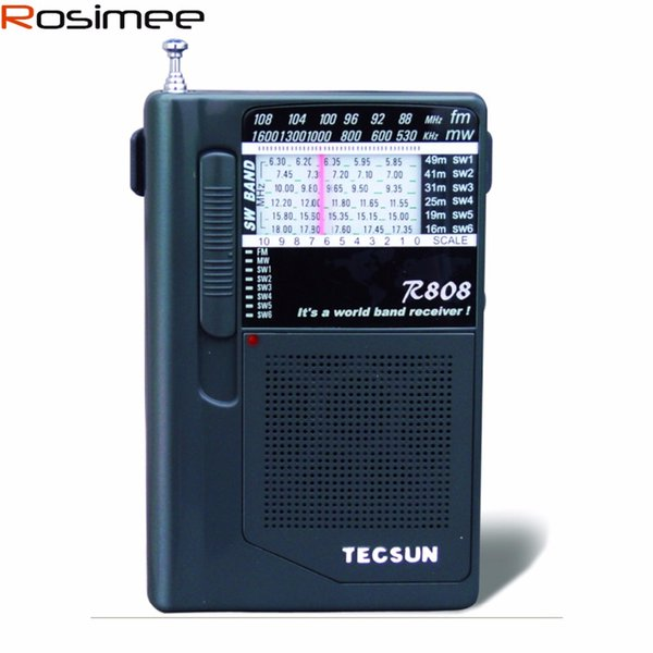 Wholesale-Tecsun R-808 R808 Radio Portable FM/MW/SW Mini Radio World Band Receiver FM Radio Y4141A Digital Receiver Mini Pocket Size