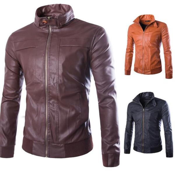 Men's Leather Jackets Locomotive Coat Casual Leather Jackets Winter Outerwear Jumper Overcoat Zipper Top Outerwear Men's Clothing KKA3047