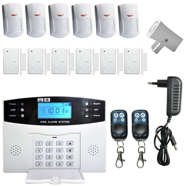 LCD RU / SP / EG / FR / IT voz Sem Fio SMS Casa Sistema de Alarme GSM Casa Inteligente auto Sistemas de Alarme de Segurança Da Porta de Assaltante
