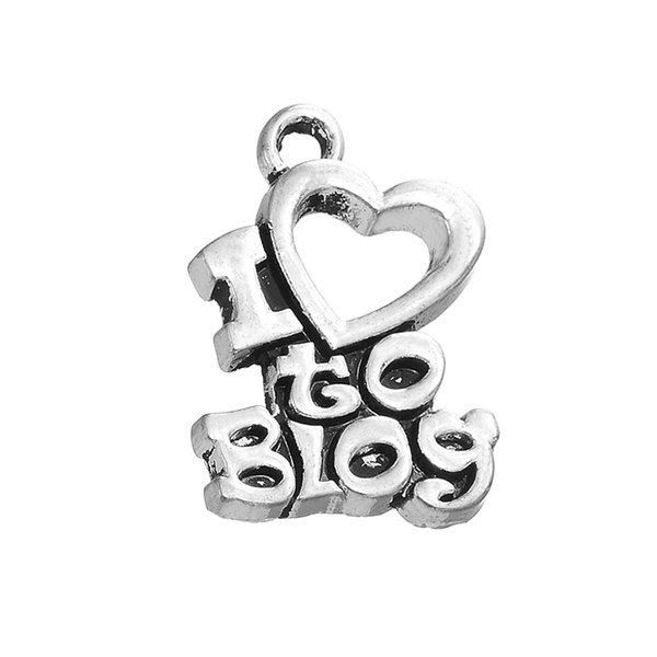 I Love Blog Sweet Love Message Zinc Alloy Metal Fashion Antique Silver Plated with Heart Jewelry Hot Sell Charm DIY Necklaces&Bracelets