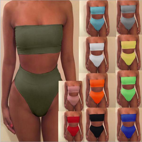 best selling 2019 Women Swimsuit Bodysuit Swimming Suit boob tube top Bikini Set Bathing Suits Swim High Waist Thong Beach Swimwear