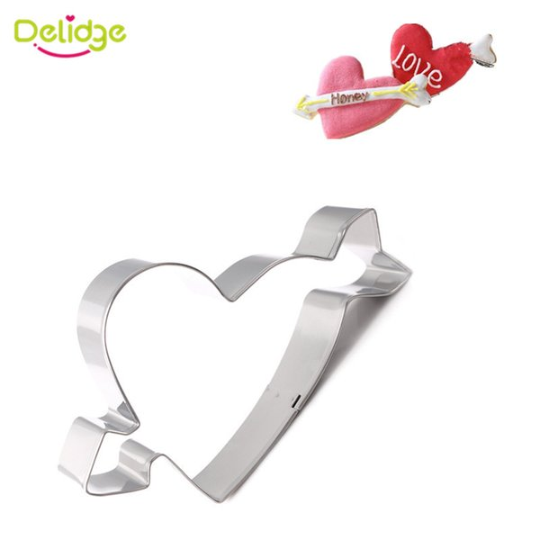 1pc Heart Arrow Fondant Cookie Cutter Mold 3D Stainless Steel Cake Decorating Mold DIY Biscuit Baking Cooking Tools