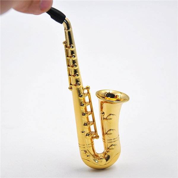 Wholesale- Two Style Small / Big 1 X Reggae Saxophone Shaped Metal Smoking Pipe.