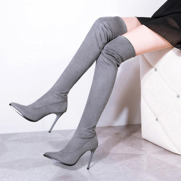 High Quality Stretch Suede Womens Thigh High Stiletto Boots Sexy Over the Knee Boots Pointed Toe High Heels Long Boots Shoes Black