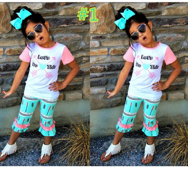 2018 Sommer Mädchen Kleidung Sets t-shirt + Cropped Hosen + Stirnband Kurzarm und Hosen Toddle Kleidung Kind Kleidung