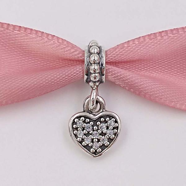 Echte S925 Sterling Silber Perlen Pflastern Herz Anhänger Charme Passen Europäische Marke ALE Stil Armbänder Halskette Schmuck