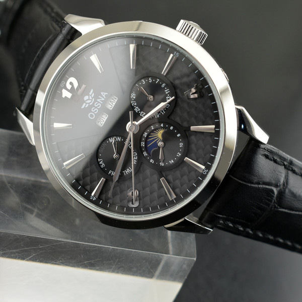 2169 Date&Day Ossna 44mm Black Dial Steel Case Automatic Men's Mechanical Watch
