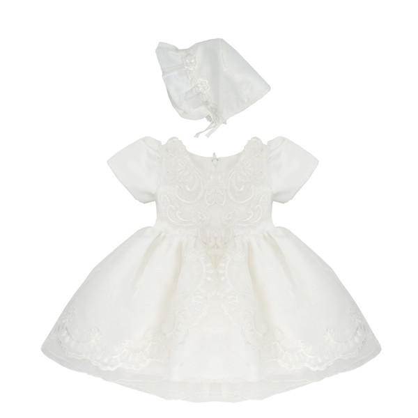High Quality Baptism Gown Baby Girls Christening Dress Ivory Lace Applique Toddler Robe With Bonnet 0-24month H0030