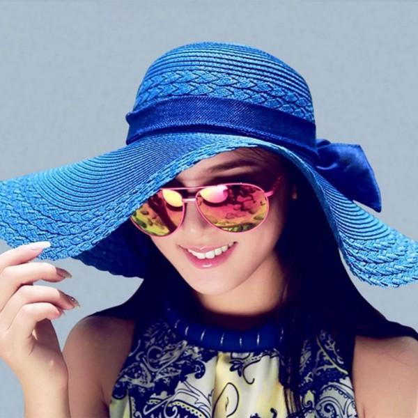 fashion free shipping 12 Colors Women Bowknot Wide Brim Summer Beach Sun Hat Lady Vacation Straw Cap