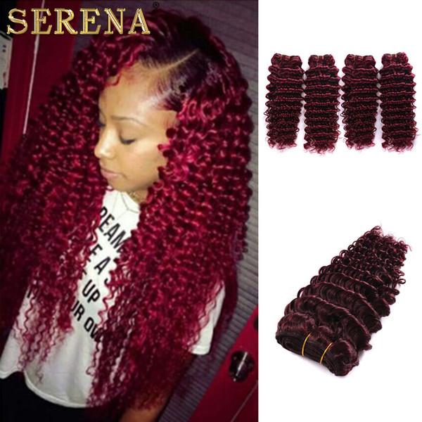Burgundy Virgin Brazilian Human Hairs Weaving 4Pcs Tight Deep Curly Wine Red Hairs Weave 99J Kinky Curl Hair Bundle cheap hair extensions