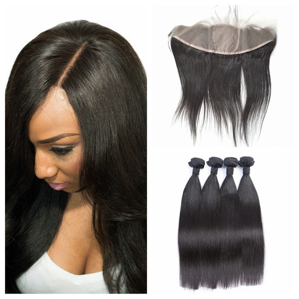 4pcs Straight Human Hair Weave Bundles With Silk Base Lace Frontal Closure Natural Black 100% Human Hair LaurieJ Hair