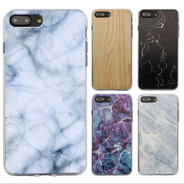 For Iphone 7 Marble Skin Wood Grain Patten Case Retro Stripe Rock Stone Design TPU Painted Cases Cover for iphone 6 6S 7 plus 5s SE 4s Hot