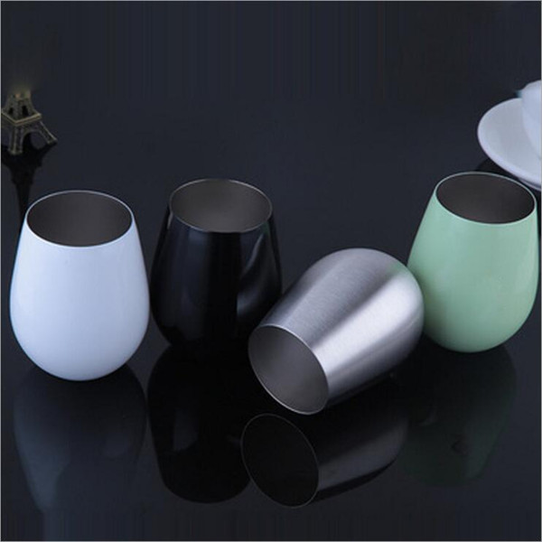 Stainless steel layer vacuum wine stainless steel double cup layer red wine glass beer cup egg shape cup DHL free ship