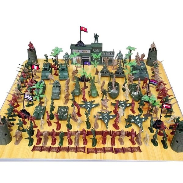 Action Figures Multi-colored 146pcs/set mini military equipment plastic soldier model toys for boy best gift for kids