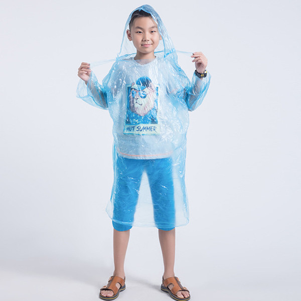 Children Raincoat Kids Disposable Waterproof Hooded Rain Coat Outdoor Cycling Camping Motorcycle Rain Rainwear Cover Colorful