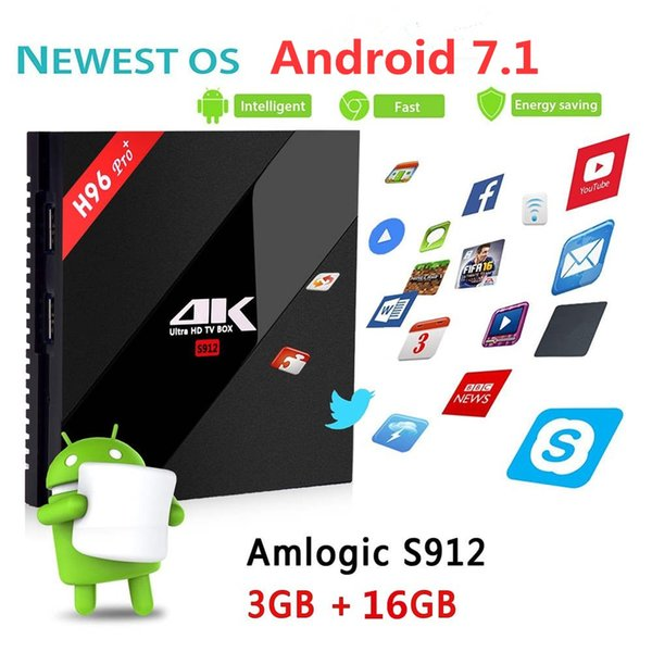 H96 PRO+ 3G 16G Android 7.1 TV Box Amlogic S912 Octa Core Dual WiFi Streaming Media Players Set-top box H96 Pro Plus