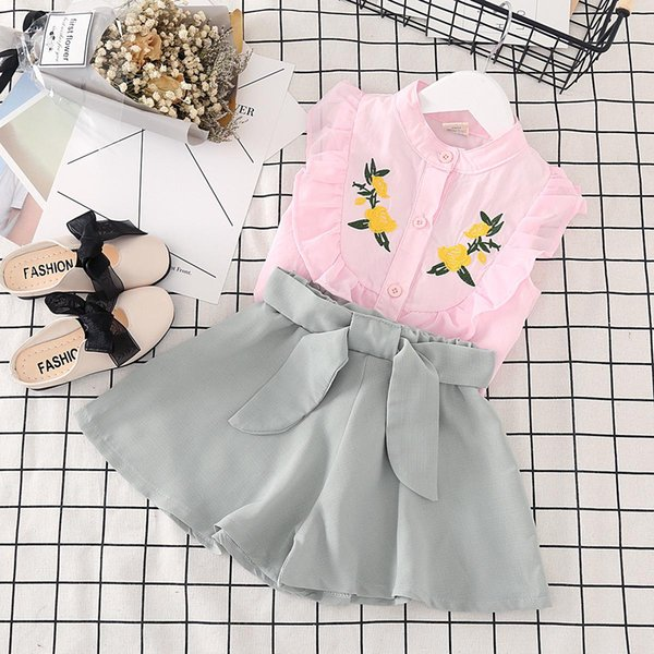 baby girls summer clothes 2017 casual style 2pcs cute flower t shirt+tutu dress kids bow skirt tracksuit suit