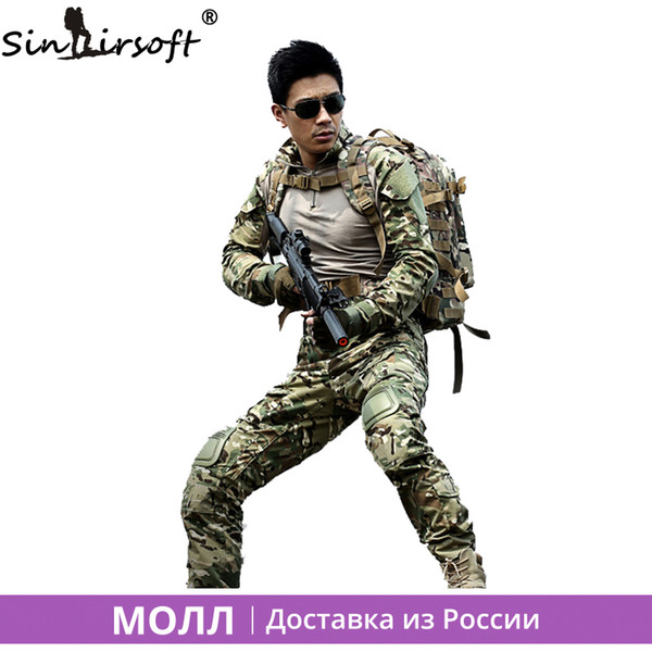 Sinairsoft Outdoor Uniform Multicam Army Combat Shirt Uniform Tactical Pants With Knee Pads Camouflage Suit Hunting Clothes Sets