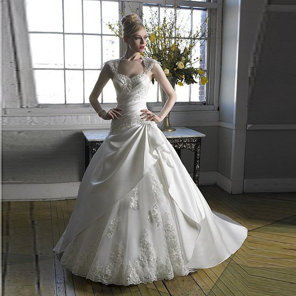 Euro Type Princess Bride Dresses With Lace Sweetheart Cap Sleeves ...