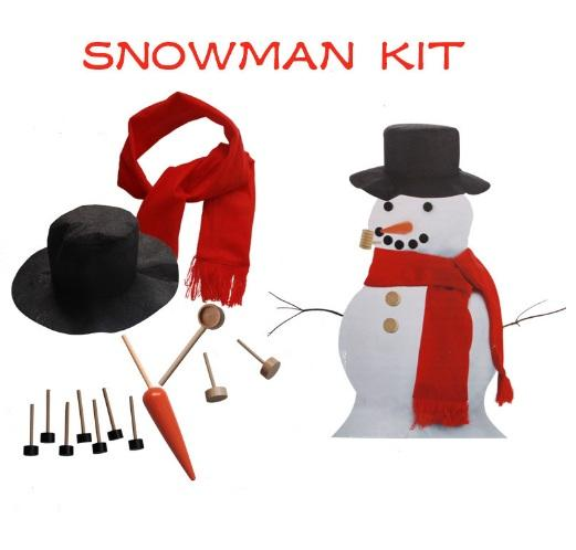 Wooden Simulation Dress Up Snowman Kit Christmas Decor Accessories Set Kit Snowman Eyes Nose Mouth Pipe Buttons Scarf Hat KKA3034