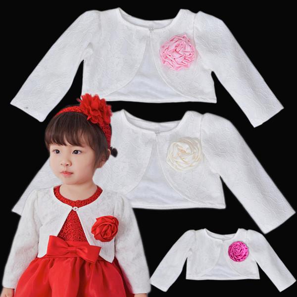 Bebê recém-nascido Meninas Jaqueta de Renda Princesa Manga Comprida Curto Estilo Cardigan Outerwear Casaco Meninas Do Bebê Vestido de Xaile Cor Branca Cape Naist