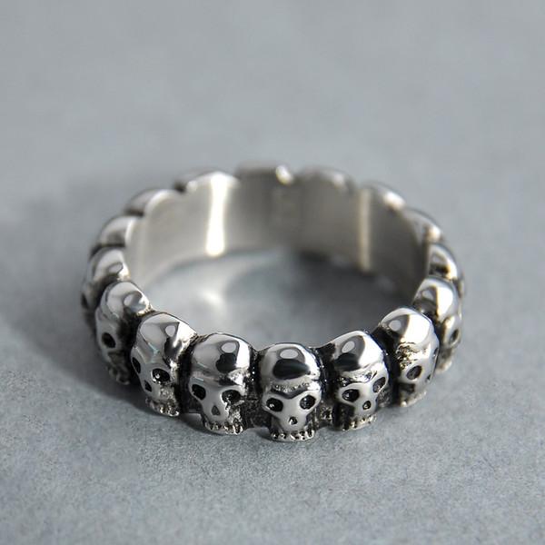 Nueva llegada Escritura personalidad cráneo anillo rotación hombres reales joyería de plata esterlina para hombres anillos de boda