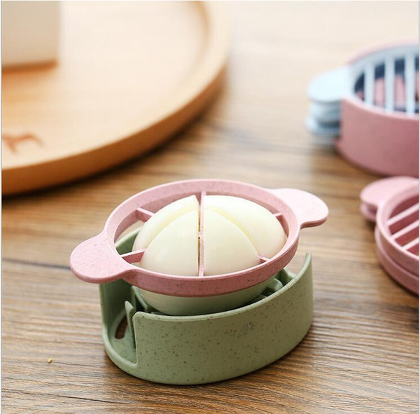 hotsale kitchen gadgets ecofriendly biodegradable colorful 3 in 1 wheat straw egg tools egg slicer cutter food divider free shipping